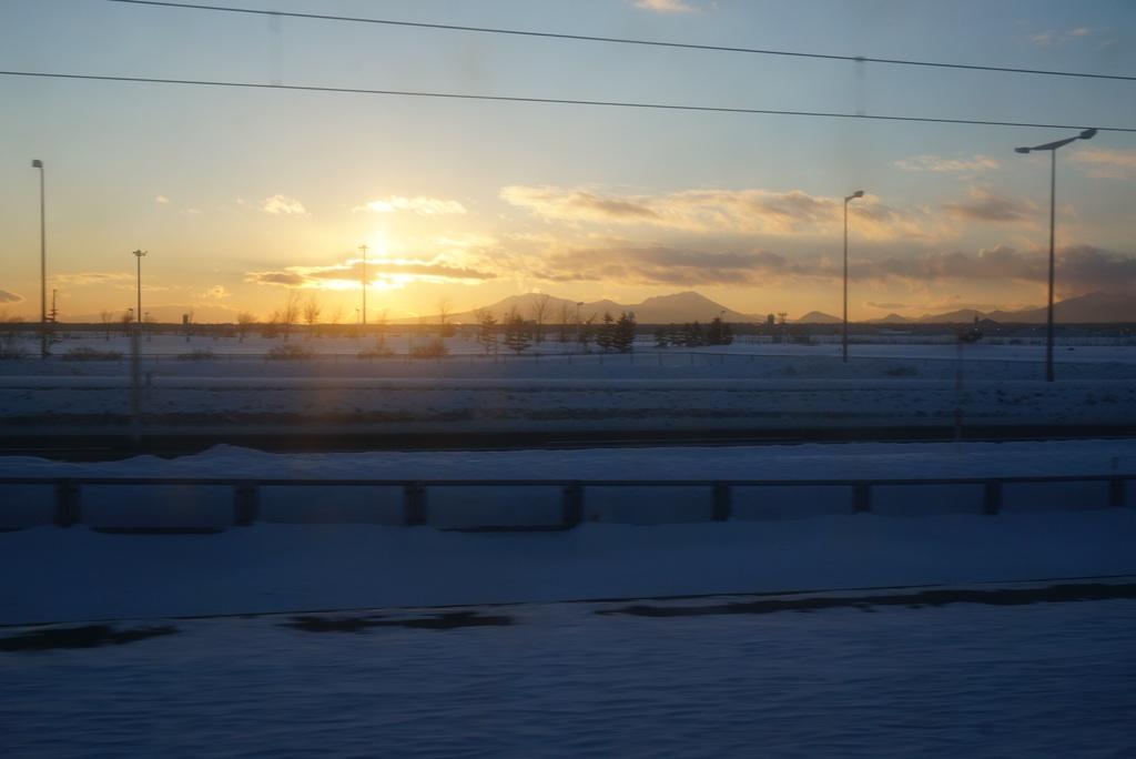 雪景色の夕焼け