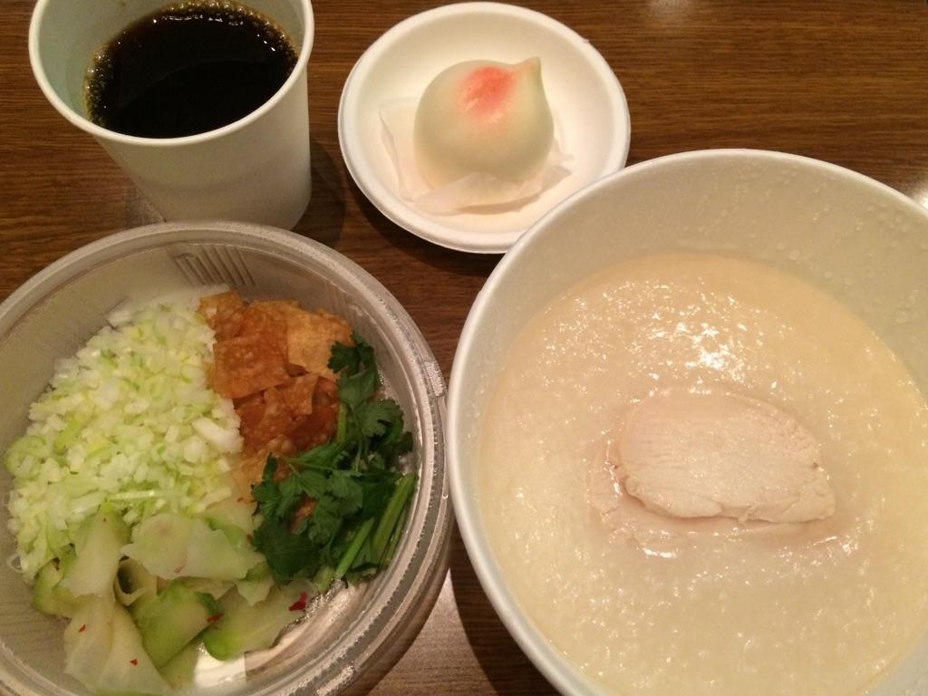 クリスタルジェイドの中華粥と桃まんじゅう@アサゲ・ニホンバシ